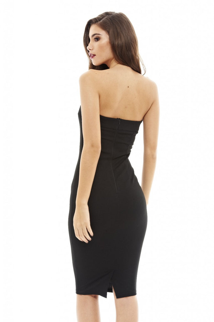 Plunge Front Strapless    Midi Dress