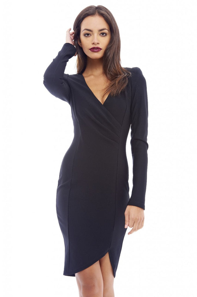 Wrap Front Long Sleeved Dress