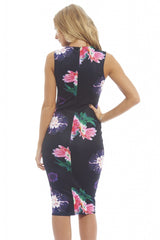 Floral Bodycon Midi With Mesh Insert
