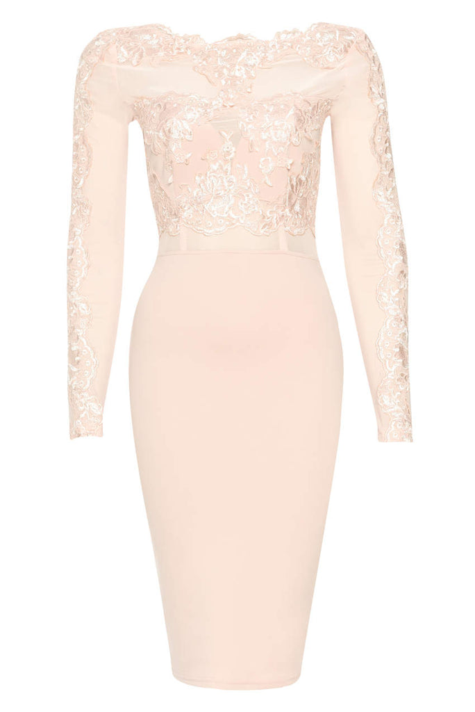 Blush Lace Detail Long Sleeved Bodycon Dress