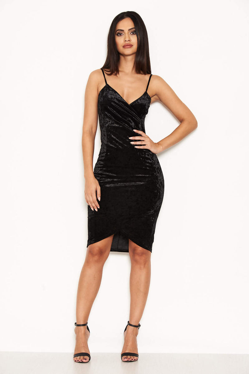 Black Velvet Wrap Front Bodycon Dress