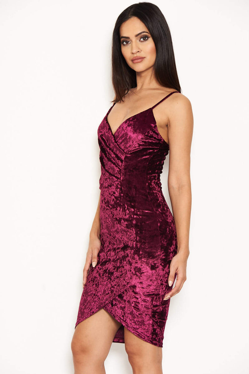 Plum Crushed Velvet Wrap over Dress