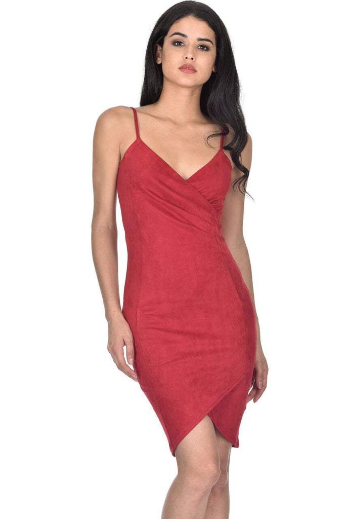 Red Wrap Front Suede Dress