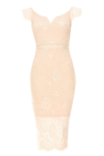 Pink Lace Bodycon Dress With Notch Front