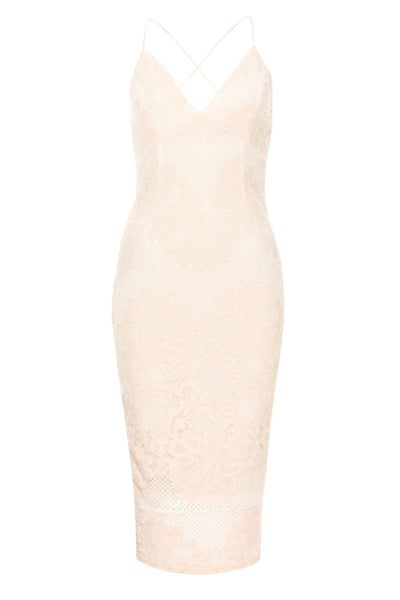 Contrast Pink Lace Bodycon Dress With Plunge Front