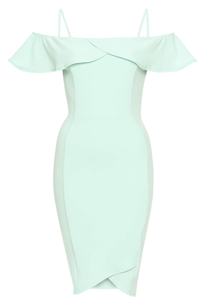 Green Bodycon Midi Dress Featuring A Bardot Frill