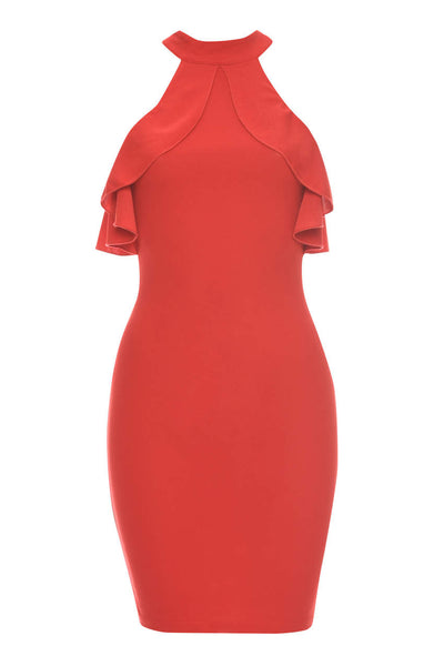 Red High Neck Cold Shoulder Bodycon Dress