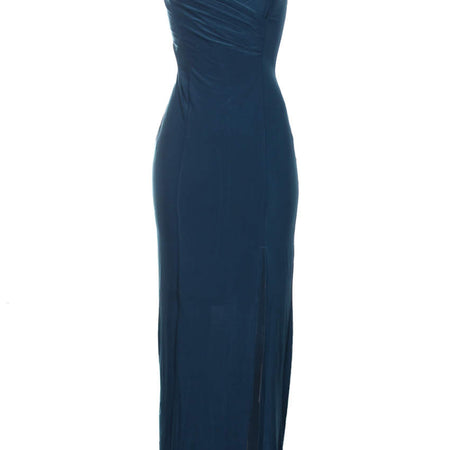 Teal Slinky Maxi Dress