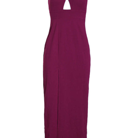 Plum Thigh Slit Maxi Dress