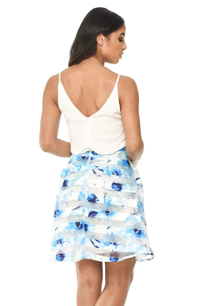 Cream and Blue Printed Dress With Cami Style Top