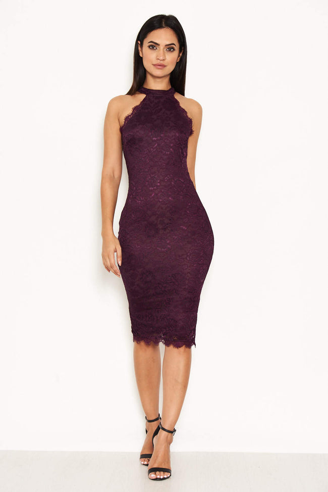 Plum Lace Midi Dress
