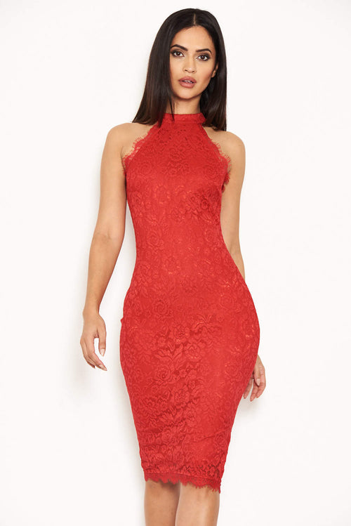 Red Halter Neck Lace Midi Dress