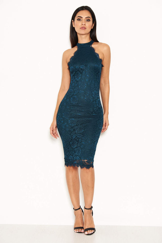 Teal Lace Halter Neck Midi Dress
