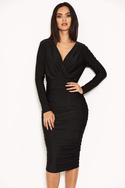 Black Ruched Wrap Dress