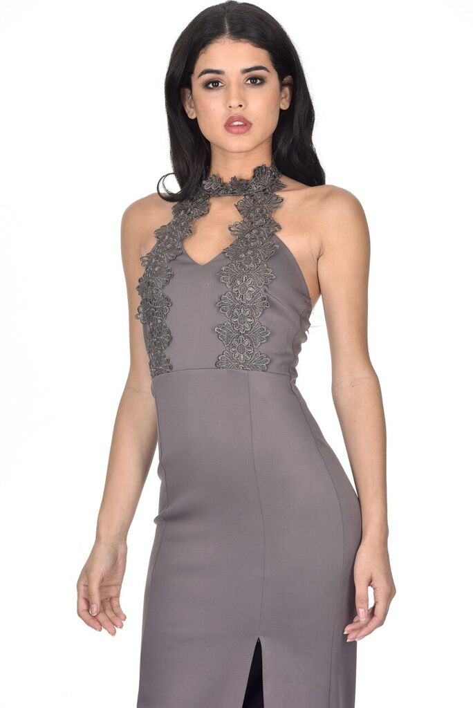 Pewter Maxi Dress With Choker Cut Out