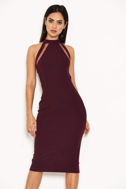 Plum Mesh Detail Bodycon Dress