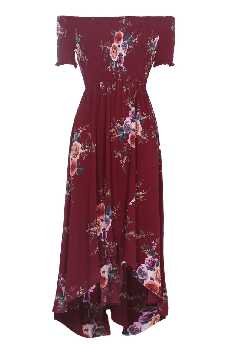 Rust Floral Bardot Printed Dress