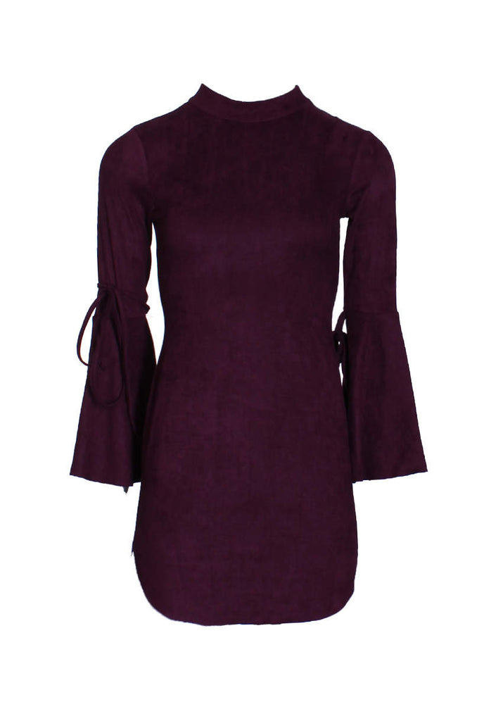 Plum Faux Suede Flare Sleeve Dress