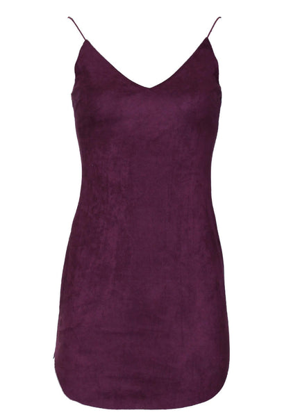 Plum Faux Suede Mini Dress