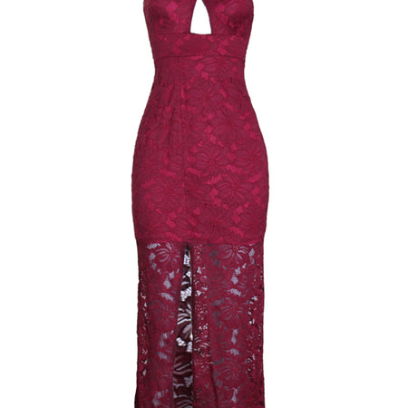 Wine Lace Maxi Dress With A Thigh High Split