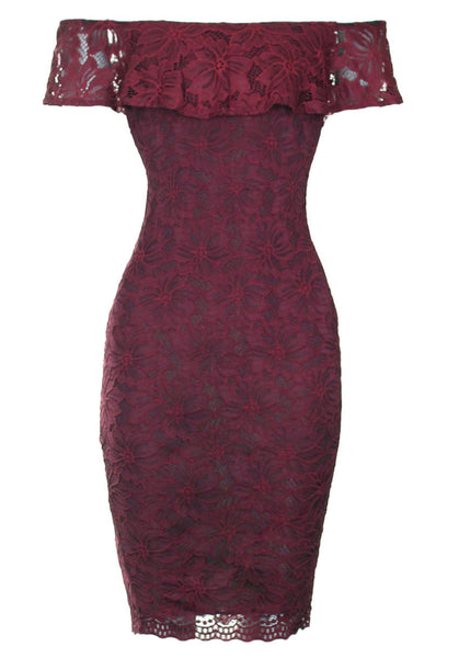 Wine Ruffled Off The Shoulder Lace Midi Dress