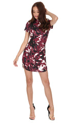 Plum Floral High Neck Mini Dress