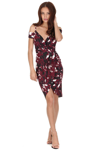Plum Off The Shoulder Strappy Wrap Midi Dress