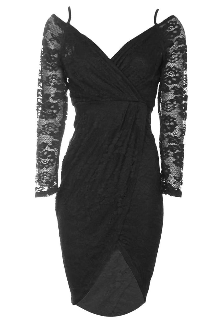 Black Lace Long Sleeved Wrap Dress