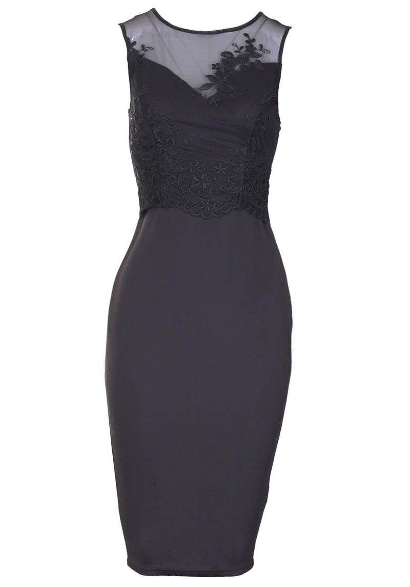 Black Mesh Detail Bodycon Dress