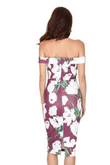 Plum Off The Shoulder Cut Out Floral Midi Dress