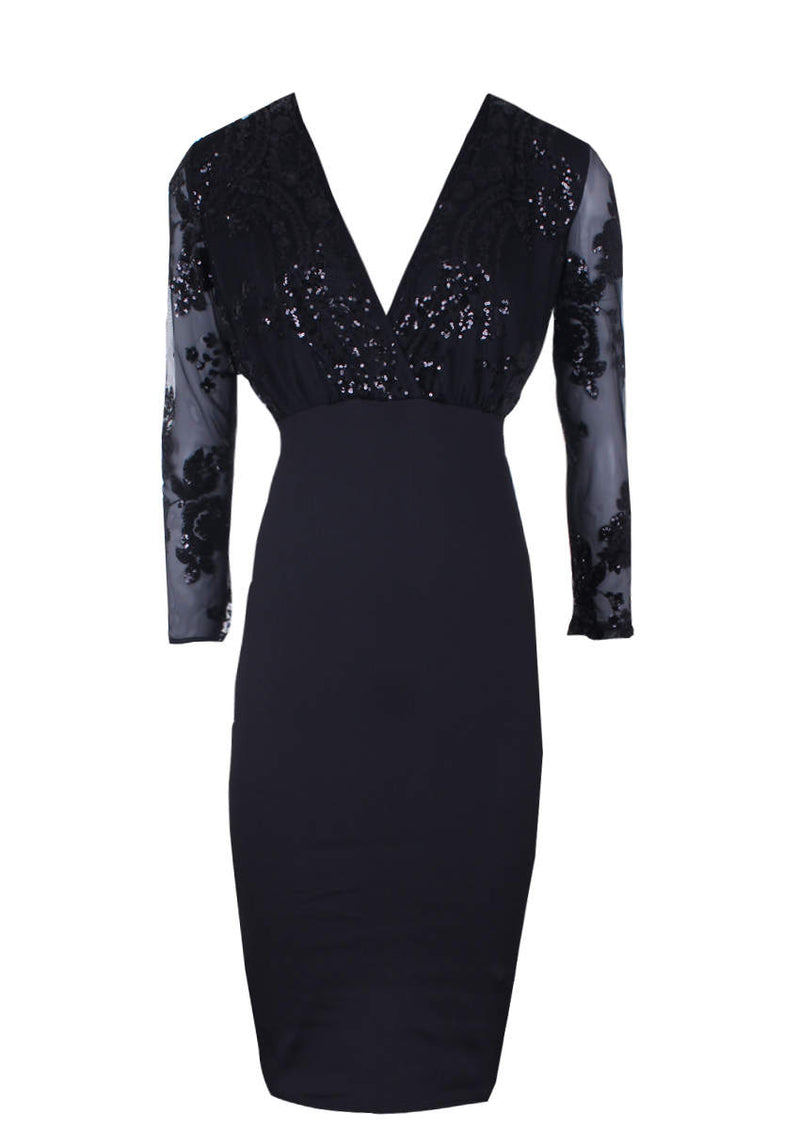 Black Sequined Crossover Bodycon Dress