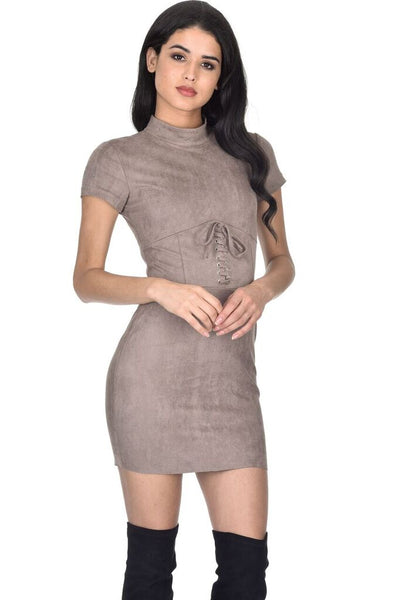 Mocha Faux Suede Mini Dress