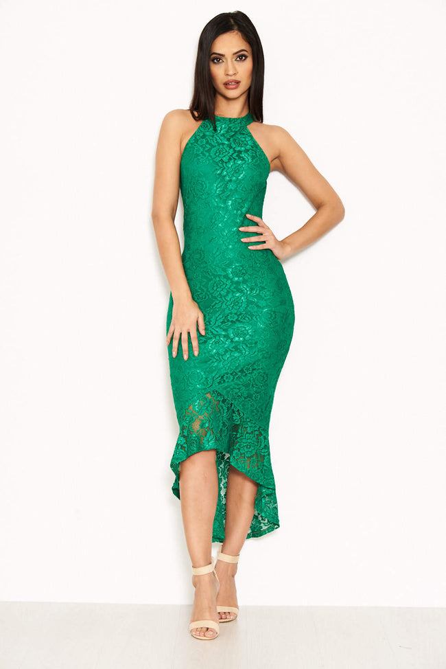 Green Racer Neck Fishtail Dress