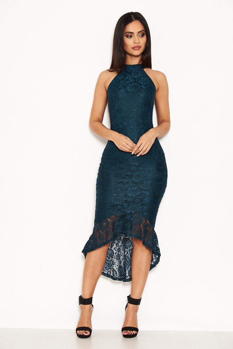 Teal Racer Neck Lace Fish Tail Dress