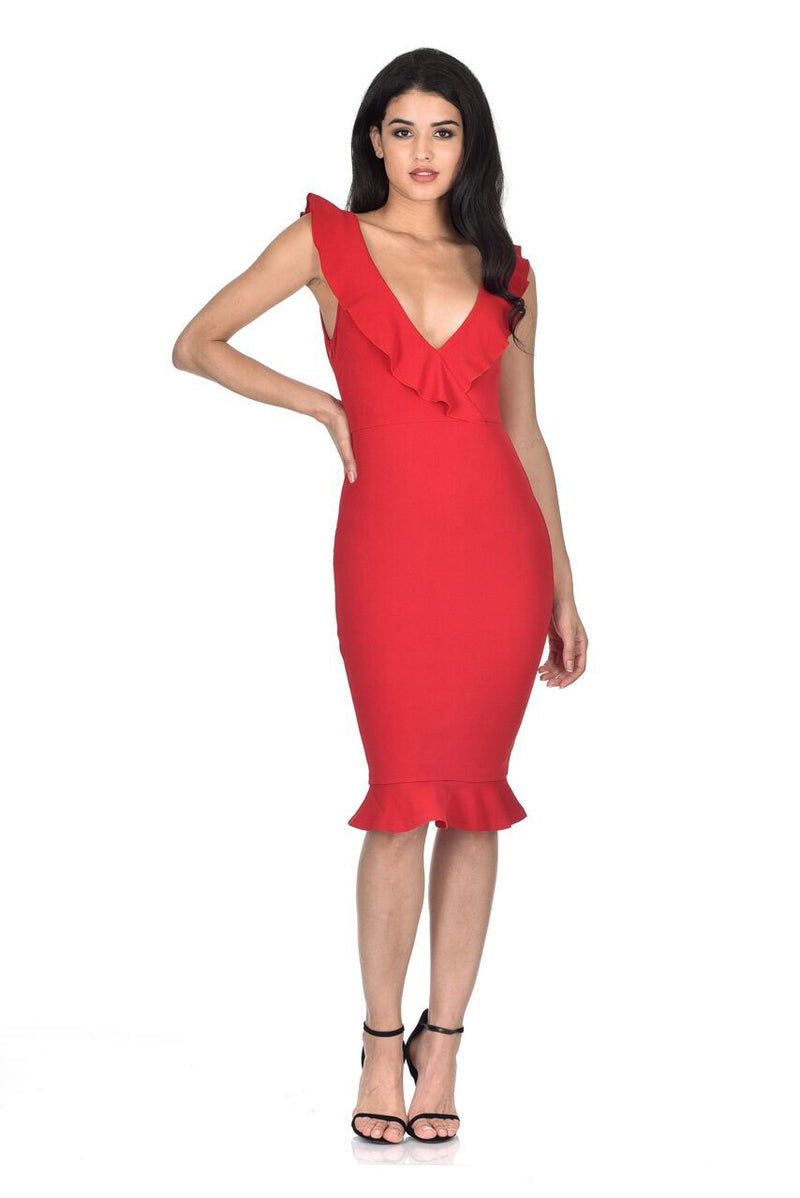 Red V Neck Frill Detail Bodycon Dress
