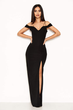Black Strappy Off The Shoulder Side Split Maxi Dress