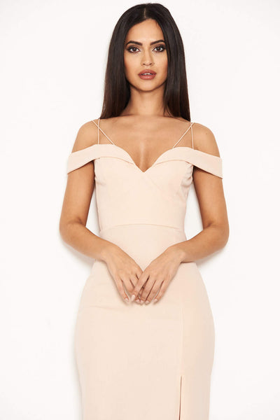 Nude Strappy Off The Shoulder Side Split Maxi Dress