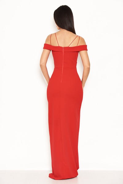 Red Strappy Off The Shoulder Side Split Maxi Dress