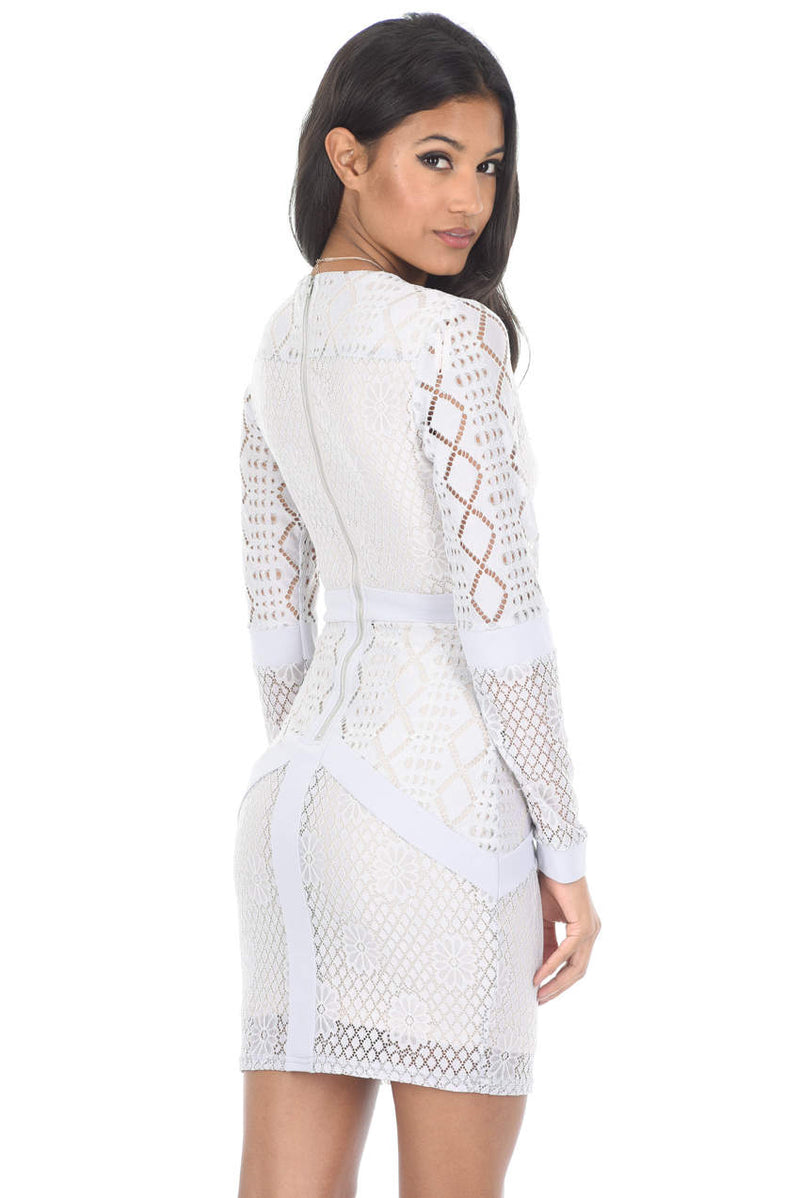 Silver Long Sleeved Mesh Detail Bodycon Dress