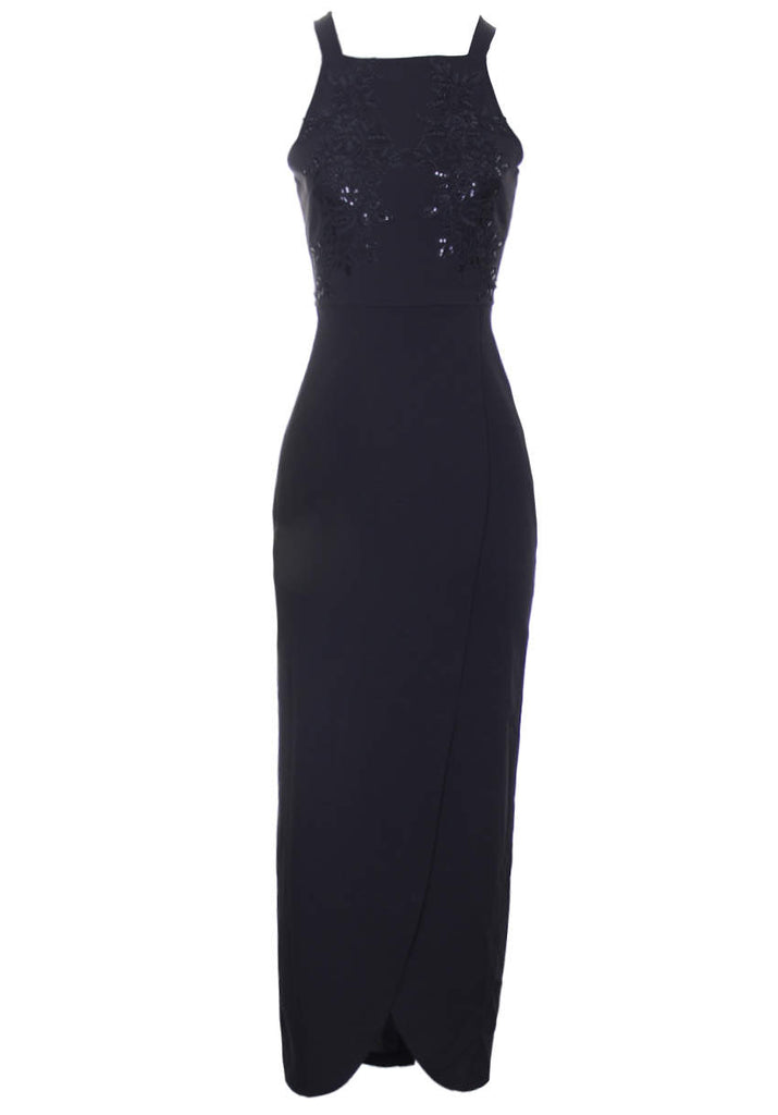 Black Wrap Embellished Maxi Dress