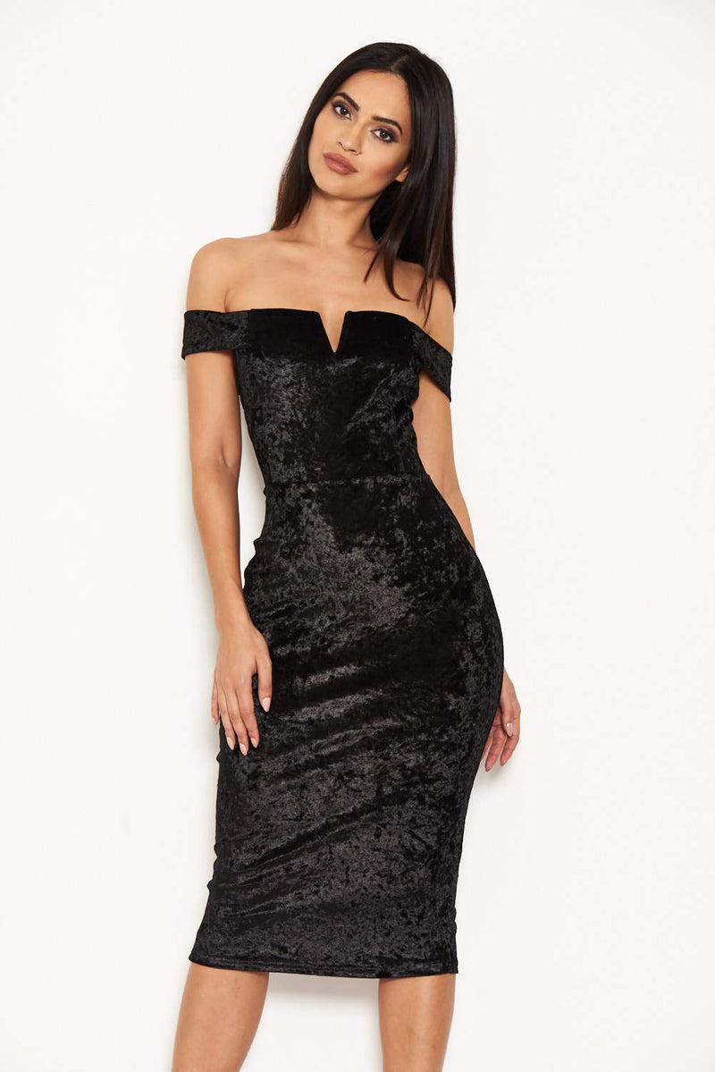 Black Velvet Off The Shoulder Bardot Dress