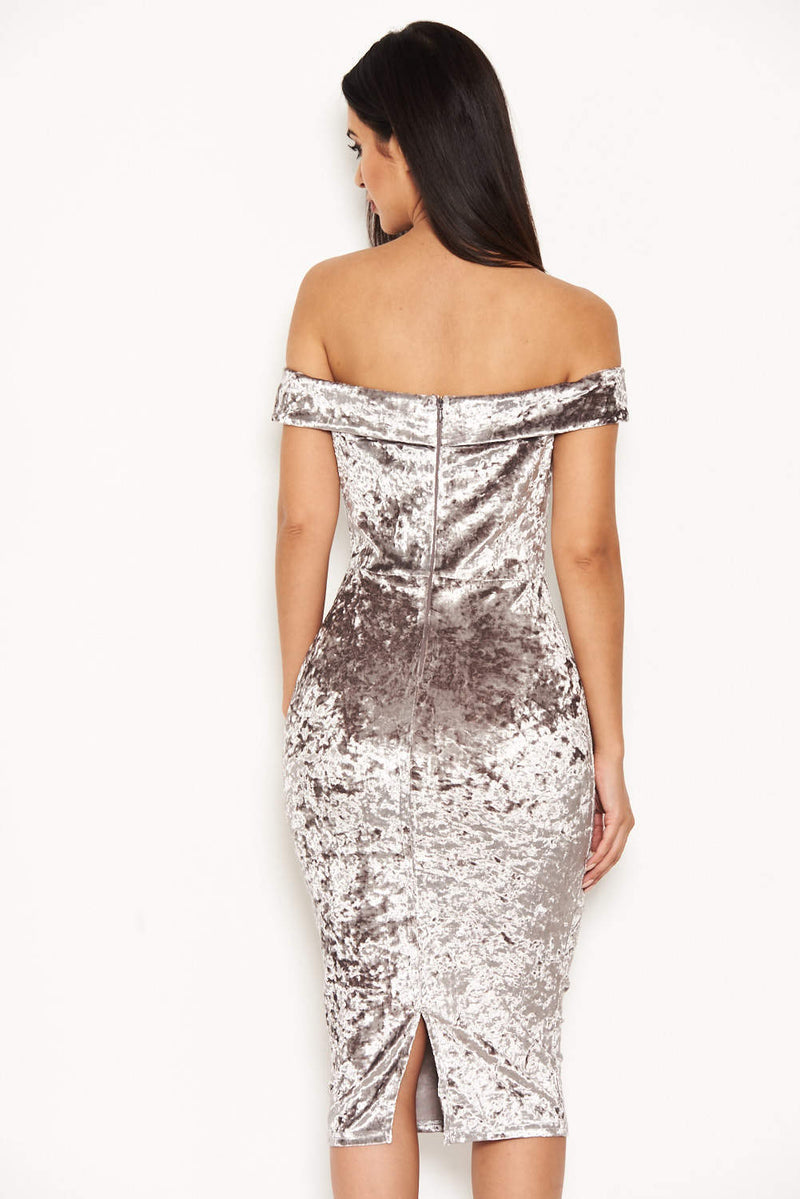 Grey Velvet Off The Shoulder Bardot Dress