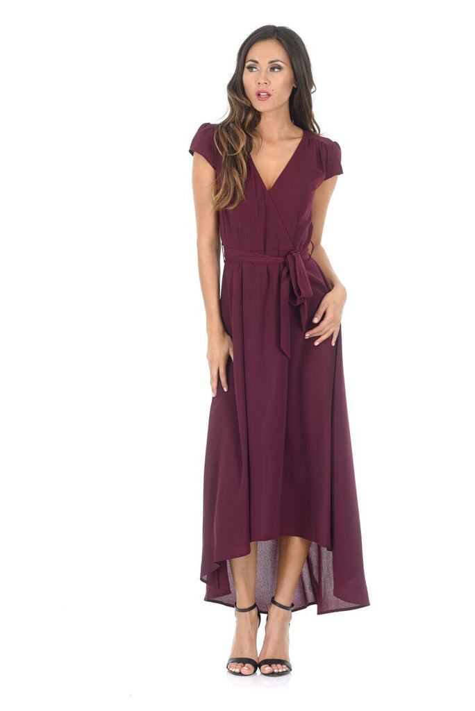 Plum Capped Sleeve Waterfall Dress