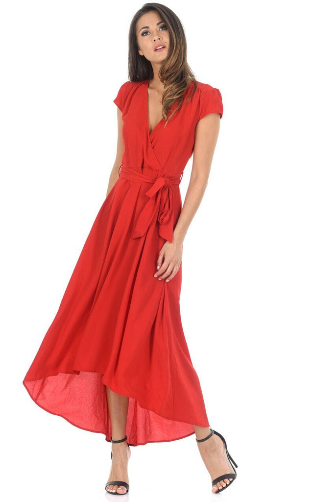 Red Capped Sleeve Waterfall Dress