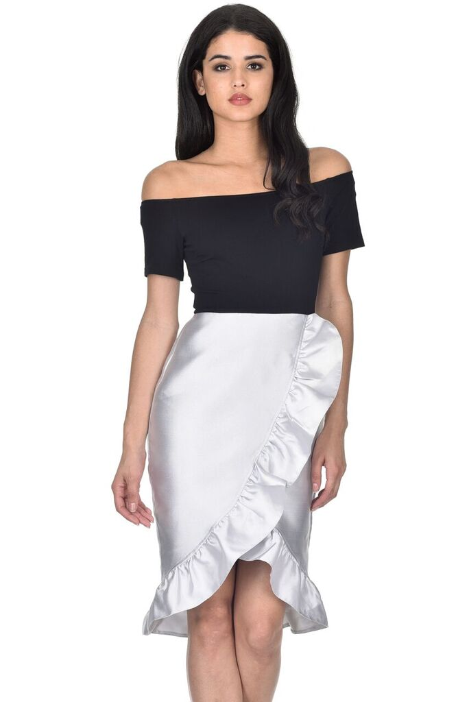 Black Silver 2 in 1 Frill Skirt Dress