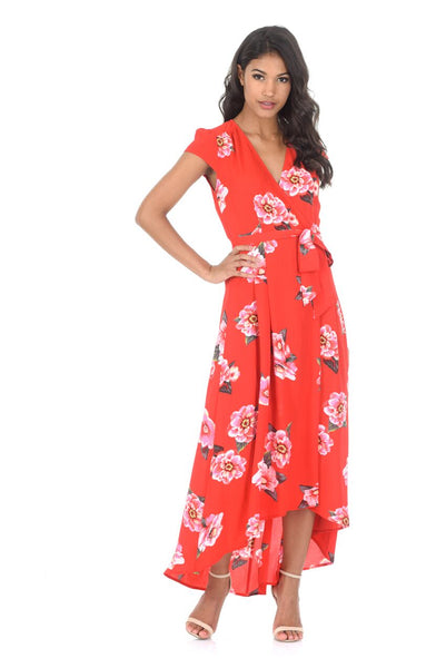 Red Floral Waterfall Dress