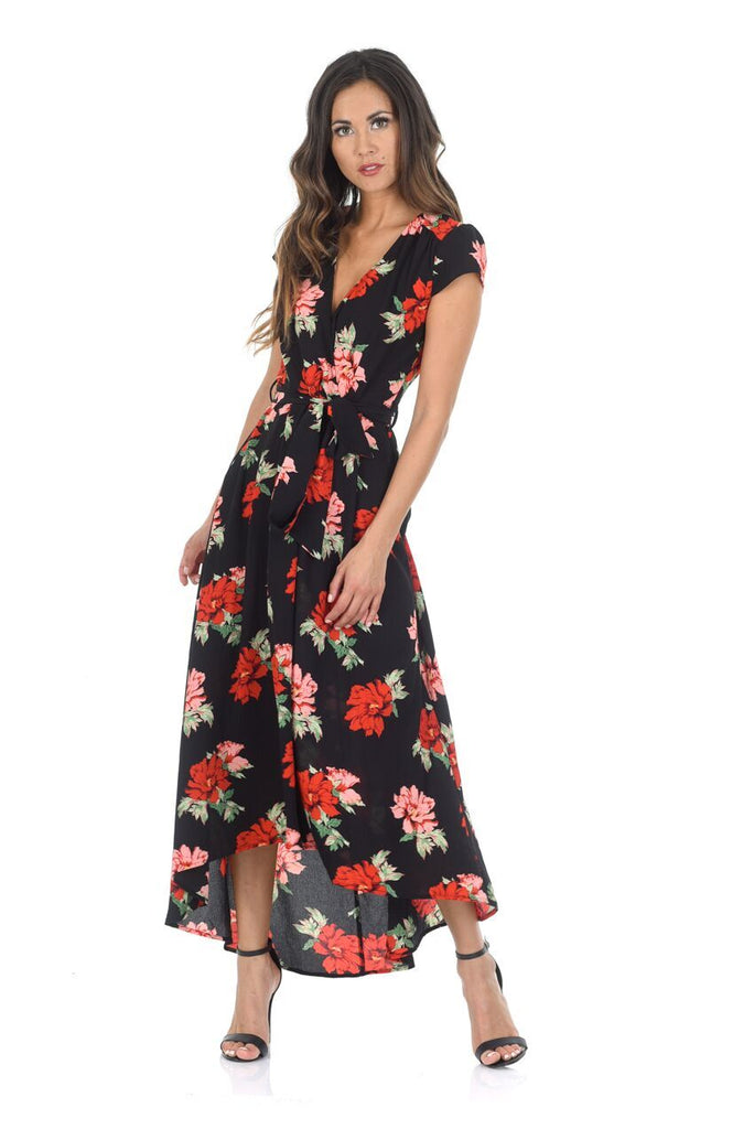 Black Floral Capped Sleeved Waterfall Dress