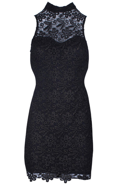 Black/Gold Crochet floral detailed Bodycon dress