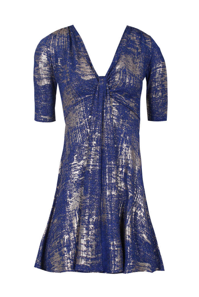 Blue Knot Front Metallic Dress