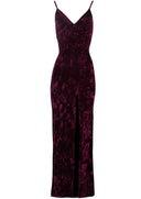 Plum Velvet Wrap over Slit Dress